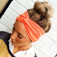 Coral Turband Headband Stretch Jersey Twist Headband - Turban Wide Hippie Boho Headband head bands Hair Coverings (HBT-04)
