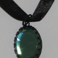 Black Ribbon and Aquamarine Pendant Necklace or Choker Victorian Style
