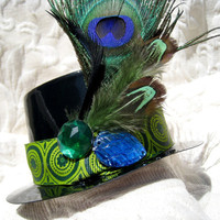 Steampunk Mini Top Hat Fascinator Halloween Costume Peacock Feather