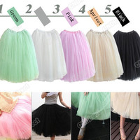 S0BZ Women Fashion Princess Fairy Style 5 layers Tulle Dress Bouffant Skirt