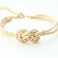 Bridesmaid gift - Mini Ivory silk Knot Bracelet - 24k gold plated