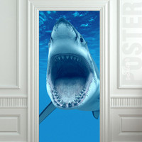GIANT Door Wall STICKER shark water ocean sea decole film poster 31x79&quot;(80x200 cm)