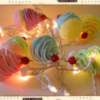 Fake Cupcake &quot;Marie Antoinette&quot; String Lights 12 Legs Orignal Concept/Design 10 Pastel Minis Fab Kitchen, Birthday Decor First On Etsy