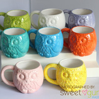 Owl 14 oz. Mug, Handmade Ceramic, 8 colors Available
