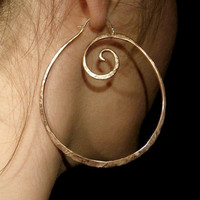 XL Pound Swirl Hoop Earrings in Copper or Bronze