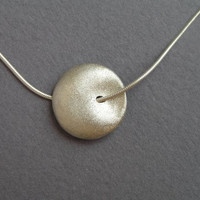 Sterling Silver Necklace Pendant - Puffy Bead Pendant - Round Pendant
