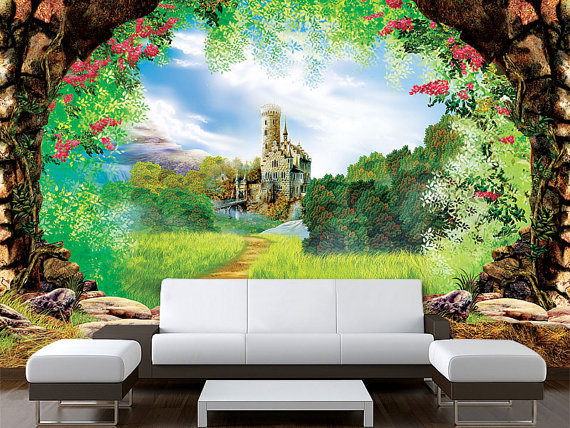 Wall sticker mural castle fairy tale from pulaton on etsy for Fairy tale wall mural