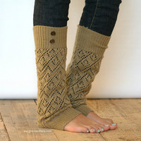 LouLou - Gold: Open-work Knit Leg Warmers with Antique Gold Metal Military Buttons - Legwarmers (item no. 9-11)
