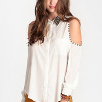 In the Clique Studded Cutout Top - $49.00: ThreadSence, Women&#x27;s Indie &amp; Bohemian Clothing, Dresses, &amp; Accessories