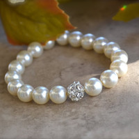 Girls Pearl Bracelet with Crystal