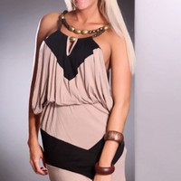 Black Taupe Beaded Neckline Keyhole Center Two Tone Sexy Dress @ Amiclubwear sexy dresses,sexy dress,prom dress,summer dress,spring dress,prom gowns,teens dresses,sexy party wear,women's cocktail dresses,ball dresses,sun dresses,trendy dresses,sweater dre