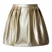Golden Metallic Skater Skirt - New Arrivals - Retro, Indie and Unique Fashion