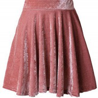 Peach High Waist Velvet Skirt - New Arrivals - Retro, Indie and Unique Fashion