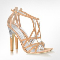 Sigerson Morrison Picasso Metallic Leather and Lucite Sandal | FORZIERI