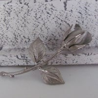 Vintage 1970's Jewelry Silver Rose Flower Brooch