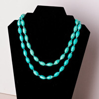 Vintage Double Strand Turquoise and White Swirled Bead Necklace