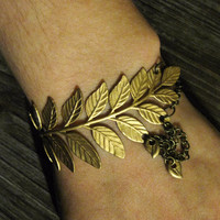 Laurel Bracelet - Gold Leaf Fern Branch Draped Antique Brass Multi Chain Brass Stamping Leaf Charms - Woodland Nature Art Nouveau Bridal