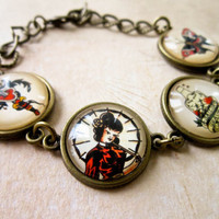 Sailor Jerry Geisha Bracelet - Rockabilly Nautical Oriental Japanese Cabochon