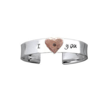 I love you Hammered Heart Riveted Hand stamped Name or Words Cuff Bracelet Custom Personalized Jewelry