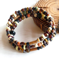 Wood bracelet stack - wooden beads wrap around 3times