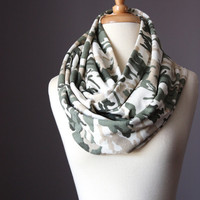 Infinity Scarf floral cotton   medium loop tube circle soft green  beige fall fashion handmade camo