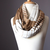 Infinity Scarf loop tube circle multicolored stripes  camel off white jersey ombre
