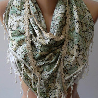 Silk Satin  - Green and Beige - Elegance Scarf.... Soft and light