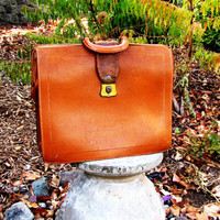 distressed cognac leather briefcase. leather portfolio. leather doctors bag.
