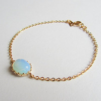 White opal bracelet-White Opal connector on a gold plated chain, Bridesmaids, October birthstone