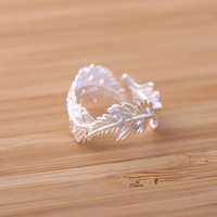 feather ring in silver, adjustable | girlsluv.it - handmade jewelry collection, ETSY, Artfire, Zibbet, Earrings, Necklace