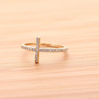 SIDEWAYS CROSS  ring, with crystals in gold(plated, 925sterling) | girlsluv.it - handmade jewelry collection, ETSY, Artfire, Zibbet, Earrings, Necklace