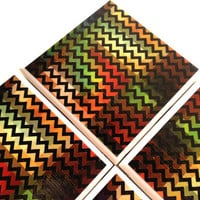 Chevron Coasters, Ceramic Tile Set, MADART Gallery, Warm Earth Tones, Fall Home Decor, Table Drink Protector