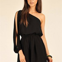 Mar One Shoulder Romper - Black at Necessary Clothing