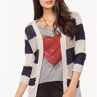 A&#x27;GACI Stripe Sweater Cardigan - CARDIGANS