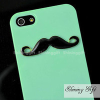 BLACK Mustache Mint Green Iphone 5 Case Cover, iPhone 5 Case, iPhone 5 Hard Case, Light Green iPhone Case
