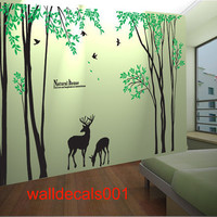 Vinyl Tree Wall Decal Wall sticker wall decors kids decal  birds decal deer decal Nature room decor -Forest