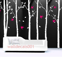 Tree Wall Decal Wall Decor wall Sticker Room decor Birds decal kids decal  decor Art - birds in birch forest -set of 6 100in birch trees