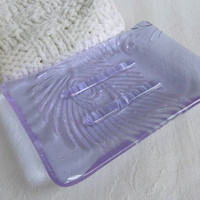 Peacock Feather Imprint Soap Dish in Pale Lavender Fused Glass