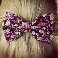 floral brown BIG hair bow