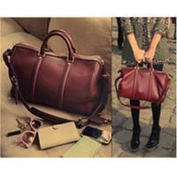 Korean occident BOSTON HandBag wine red satchel
