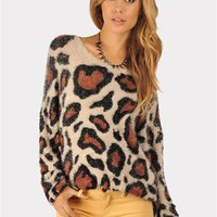 Fuzzy Animal Print Sweater - Brown at Necessary Clothing