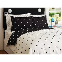 Walmart: Your Zone  Reversible Comforter and Sham Set, Black & White Polka Dot