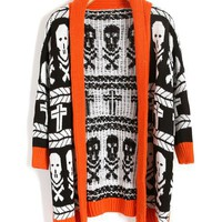 Longline Contrast Chunky Knit Cardigans with Orange Trim