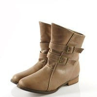 Khaki Boot with Twin Pin Buckle Belt Detail