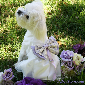 Lilac Wedding Dog dress, Dog ring bearer, Lilac pet Wedding accessory, Dog Clothing, Pet lovers, Proposal idea, Dog Lovers