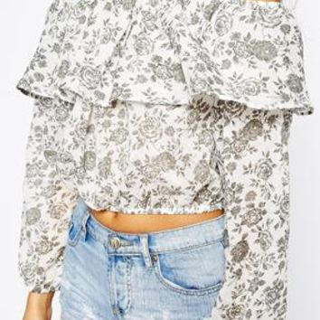 Glamorous Tall Rose Printed Off The Shoulder Top