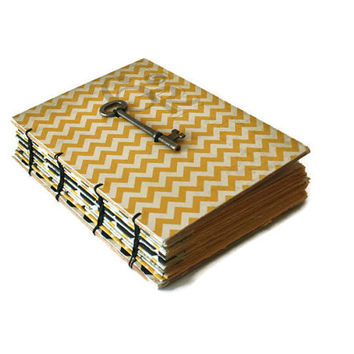 Chevron Journal with Vintage Skeleton Key - Teenager Gift - Summer Travels