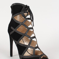 Qupid Nubuck Caged Lace Up Open Toe Stiletto Bootie