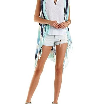 Striped Fringe Cascade Sweater Vest by Charlotte Russe - Ivory Combo