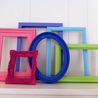 Empty Frames Eclectic Home Decor Gallery Frame Set Lime and Pink Frames Vintage Painted Upcycled